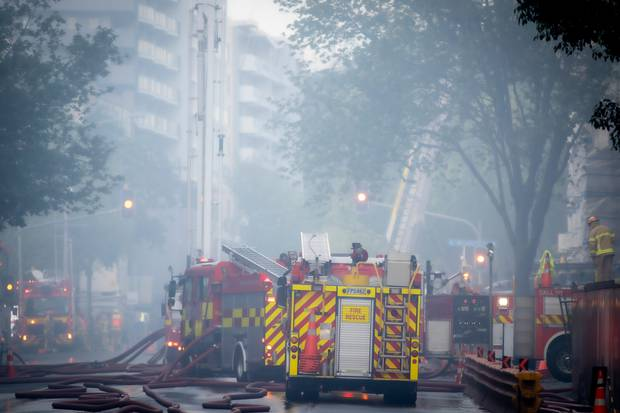 Thick smoke lingered in the city centre for several days. Photo / Michael Craig