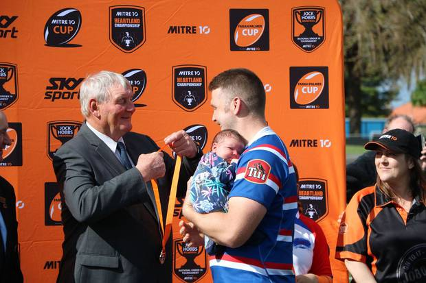 Sir Brian Lochore handed out the medal after the Lochore Cup Final.