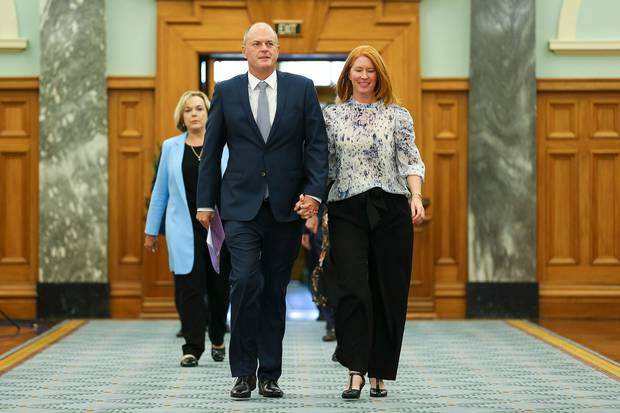 Former National Party Leader Todd Muller and wife Michelle arrive at a press conference at Parliament on May 22 after he was elected as party leader at an emergency caucus meeting. Photo / Pool