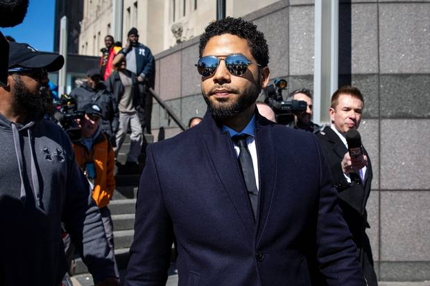 Actor Jussie Smollett leaves the Leighton Criminal Courthouse in Chicago after prosecutors dropped all charges against him. Photo / AP