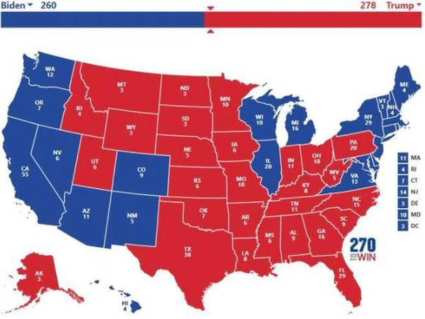 It's close, but with Donald Trump ahead. Photo / Supplied