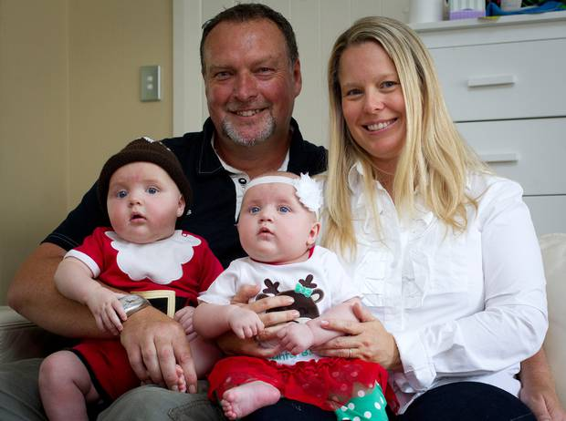 Jane and Martin Weekes with twins Parker and Poppy, now five. Photo / File