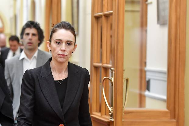 Prime Minister Jacinda Ardern approaches media at Parliament. Photo / Getty Images