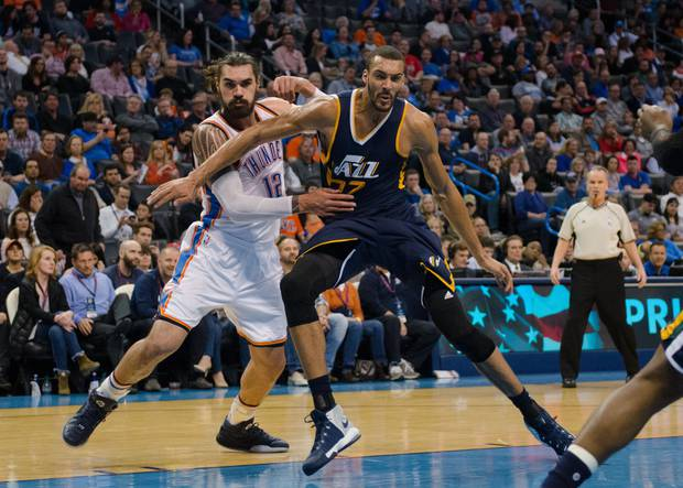Steven Adams and fellow star centre Rudy Gobert will go head to head in the first round of the NBA playoffs. Photo / Getty Images