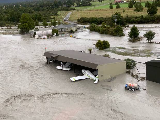 The flood waters have swamped planes in the area. Photo / Wayne Costello, DOC