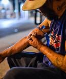 Art Gutierrez injects a dose of heroin. He watched a friend die after taking a lethal dose of fentanyl. Photo / Washington Post, Salwan Georges