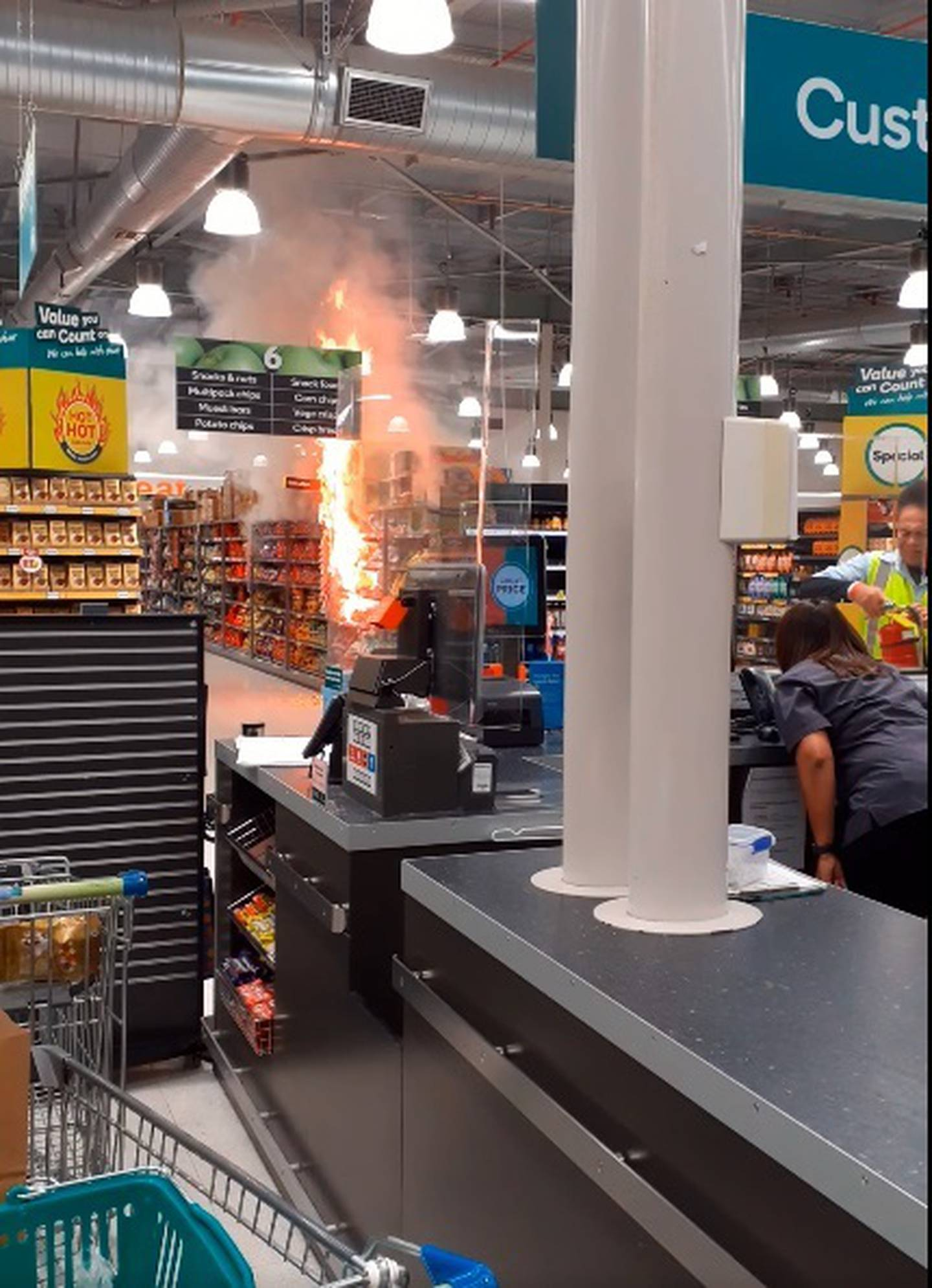 A fire in the chip aisle at Countdown Henderson shut down the supermarket earlier this month. Photo / Supplied