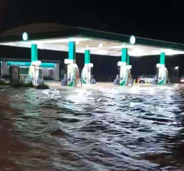 Flooding at the BP station.