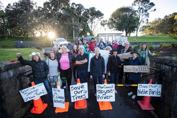 Local residents at the entrance to the summit of Ōwairaka/Mt Albert in a November protest. Photo / File