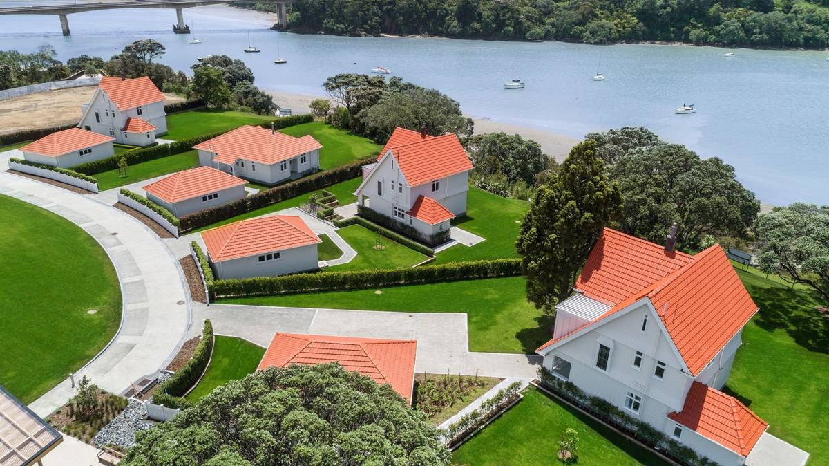 An old aircraft hangar and officers' homes on sale at Hobsonville
