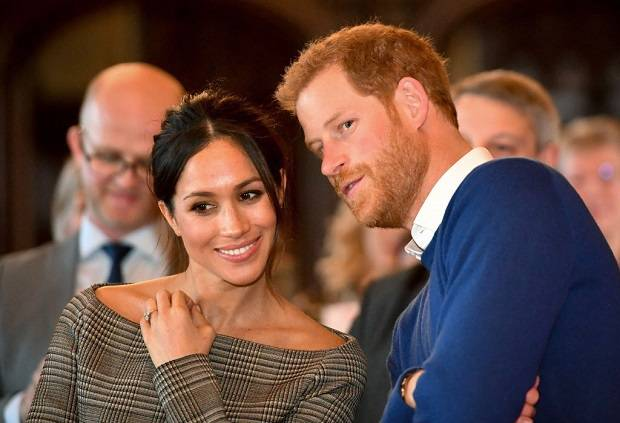 Prince Harry and Meghan Markle in Cardiff Castle. Photo / Getty Images