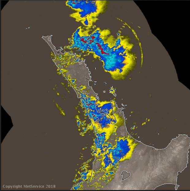 This MetService rain radar image at 8:28am shows heavy falls across the top of the North Island.
