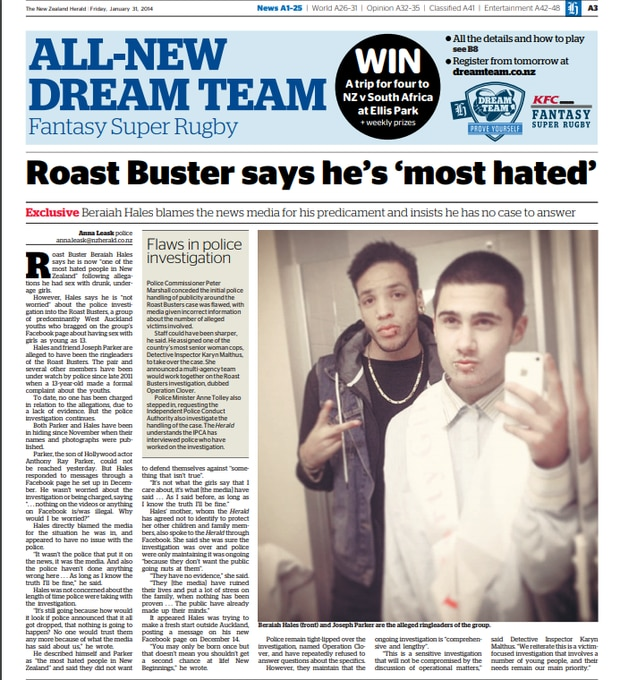 Roast Buster Beraiah Hales was the first of the group to speak to the Herald in January 2014.