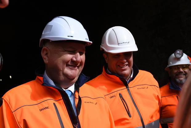 Shane Jones, left, and Greg Miller at the mouth of the first tunnel, north of Kaupapapa, to be upgraded. Photo / Niall Robertson