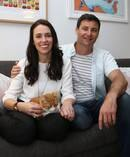 Labour Party leader Jacinda Ardern with partner Clarke Gayford. Photo / NZ Herald