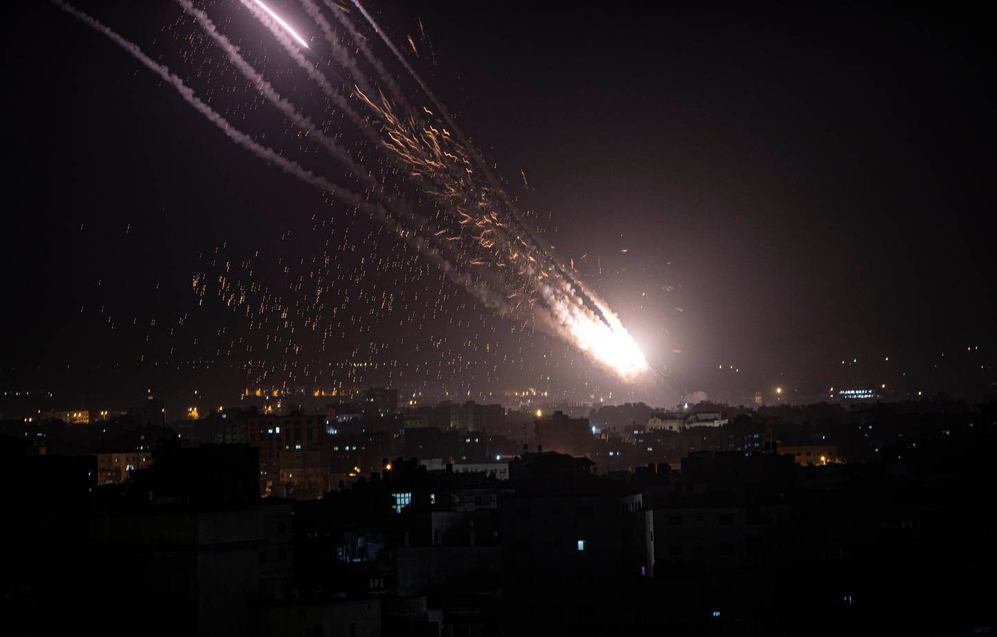 Rockets launched from the Gaza Strip towards Israel. Photo / AP