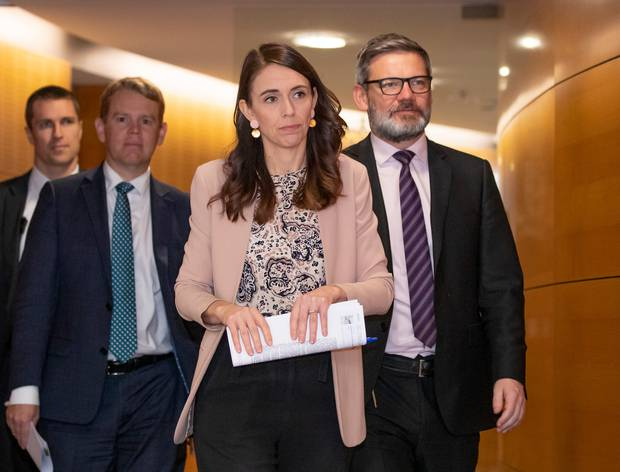 Prime Minister Jacinda Ardern and Cabinet Minister Iain Lees-Galloway, right.
