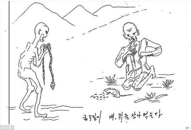 This drawing depicts prisoners foraging among live wild animals. In the Korean description: 'out of starvation and hunger, find snakes and rats and you eat them'.