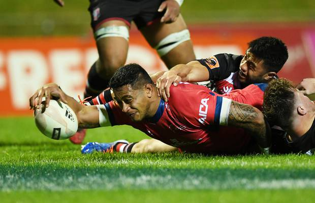 Shannon Frizell scores a try for Tasman. Photo / Photosport