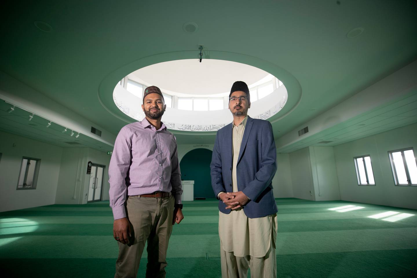 Ahmadiyya Muslims Azeem Zafarullah, left, and Imam Shafiq ur Rehman say they feel blessed to be living in New Zealand. Photo / Dean Purcell