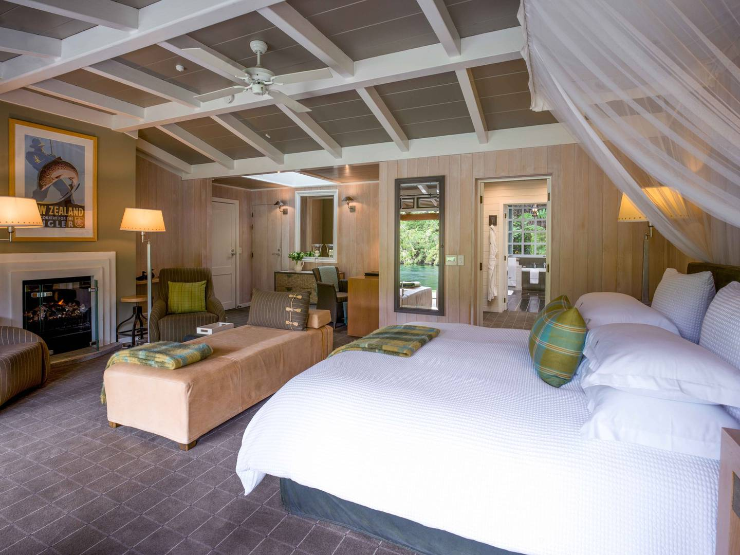 There are 20 junior lodge suites at Huka Lodge, all looking out to the Waikato River. Photo / Supplied