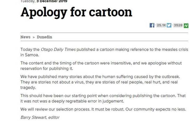 The ODT's apology. Photo / ODT