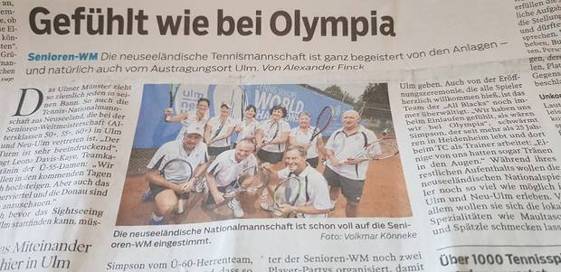 The New Zealand tennis team featured in a German newspaper during the ITF Senior Tennis World Championships. Photo / Supplied
