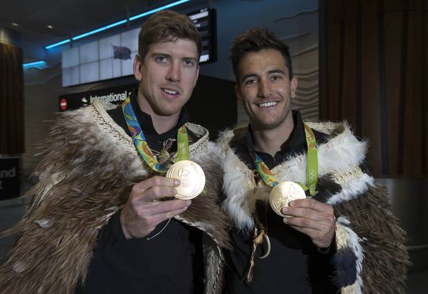 New Zealand Olympic gold medallists Peter Burling and Blair Tuke