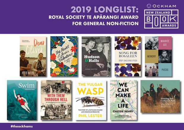 The covers of the Royal Society Te Aparangi Award General Non-fiction books long listed for this year's Ockham NZ Book Awards.