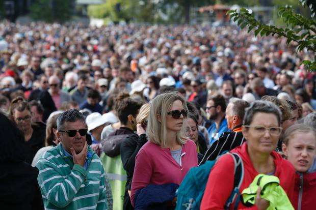 Thousands of mourners attended the national remembrance service in Hagley Park on March 29, 2019. File photo / Dean Purcell