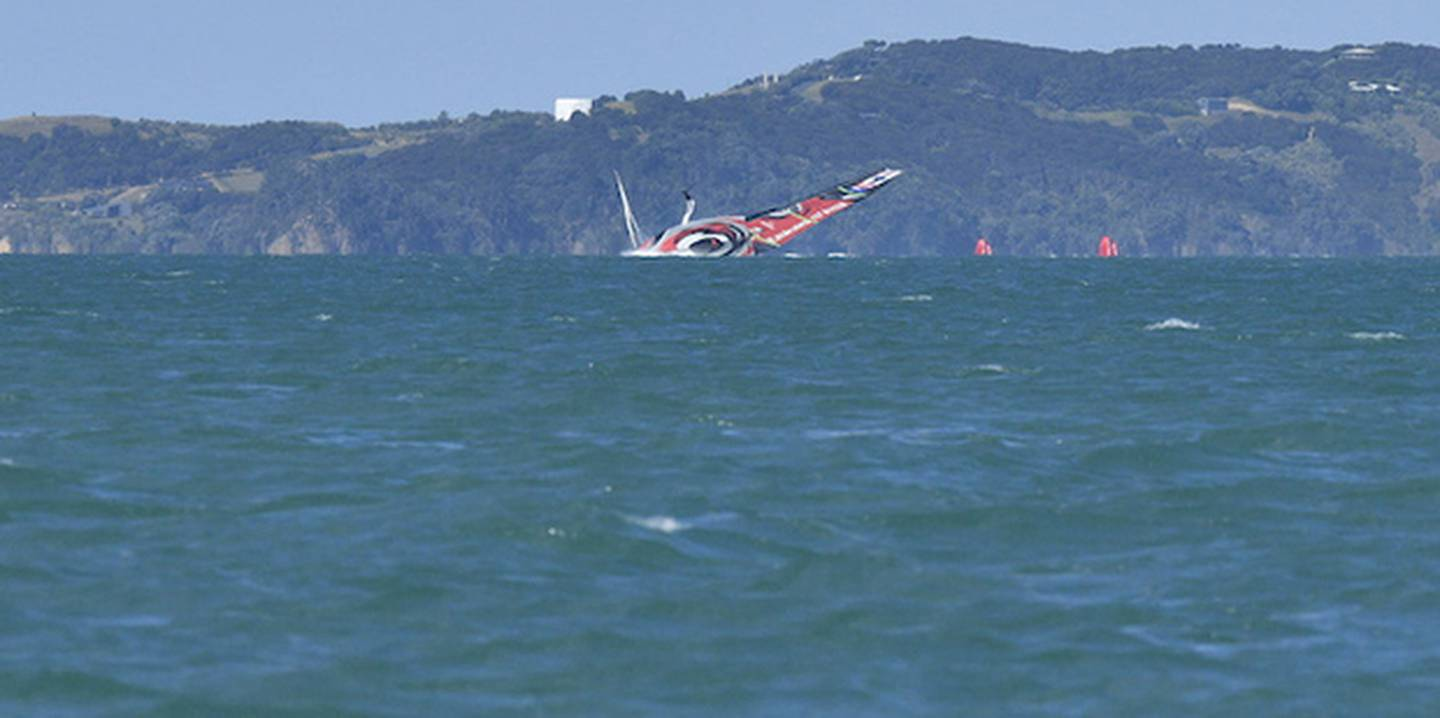 Team NZ capsized during a practice race. Photo / Photosport