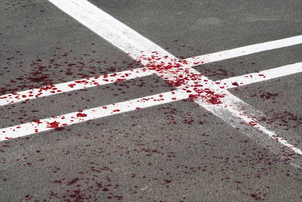 Blood spilled in the New World carpark in Whanganui. Photo / Lewis Gardner