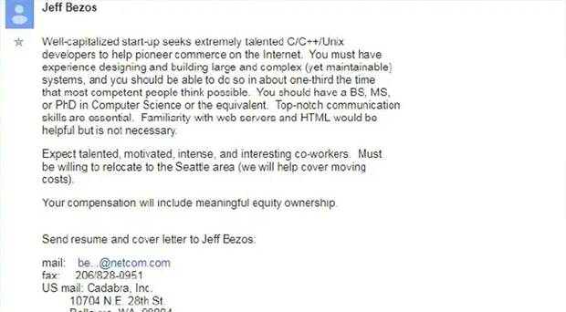 Amazon's first job ad reveals company's dark side. Photo / Google