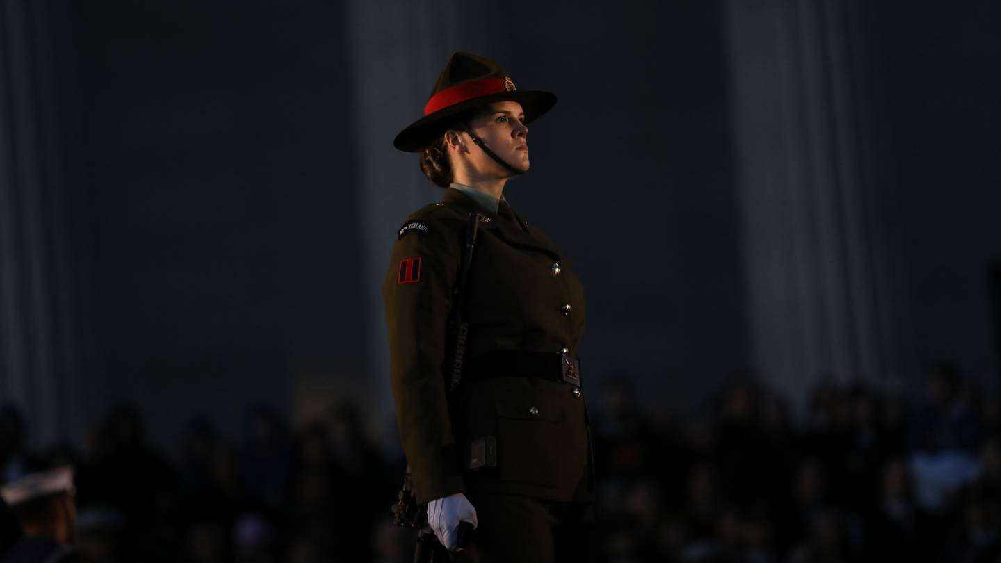 A solider at Auckland's Dawn Service held at the Auckland War Memorial Museum. Photo / Hayden Woodward