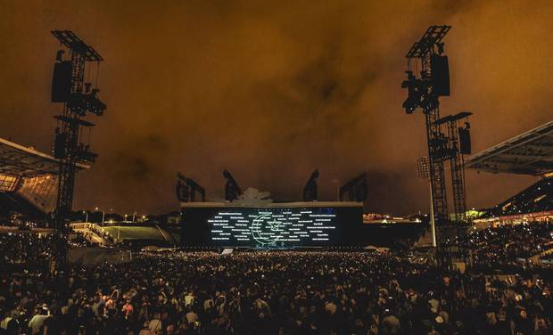 U2's 1991 track One played while the names of the Christchurch mosque attack victims were displayed. Photo / Supplied