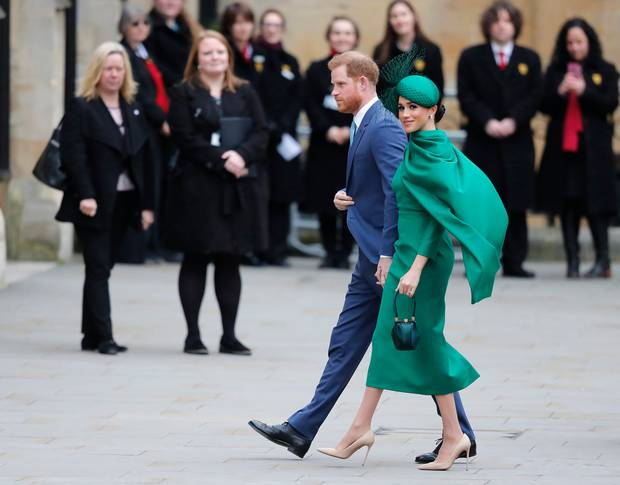 Prince Harry and Meghan, the Duchess of Sussex arrive to attend the annual Commonwealth Day service at Westminster Abbey in London. Photo / AP