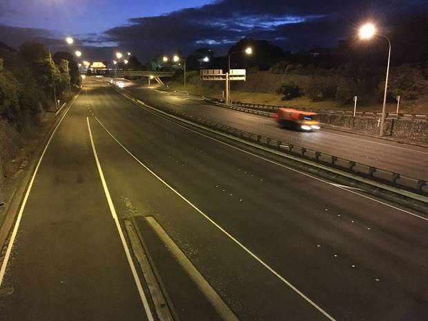 The motorway heading into Wellington was practically empty just before 7am on the first official day of a nationwide lockdown. Photo / Adam Cooper