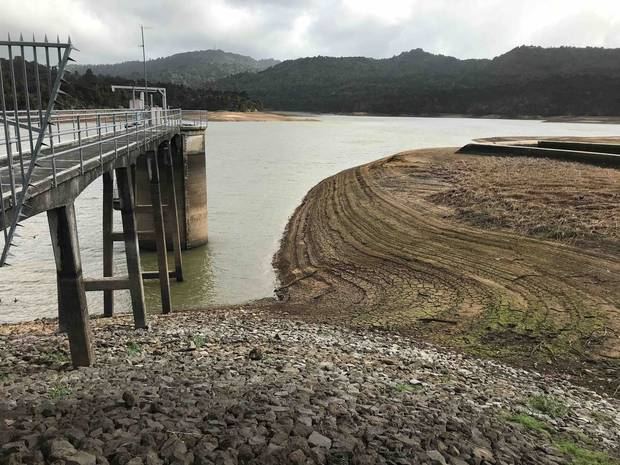The Lower Nihotupu Dam in the Waitakere Ranges at less than 50 per cent of storage capacity at May 3. Photo / Watercare