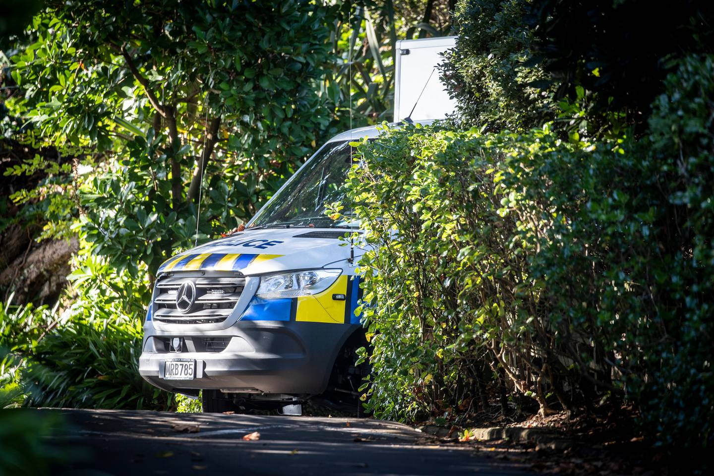Police at the Remuera house where Pauline Hanna died on Easter Monday. Photo / NZME