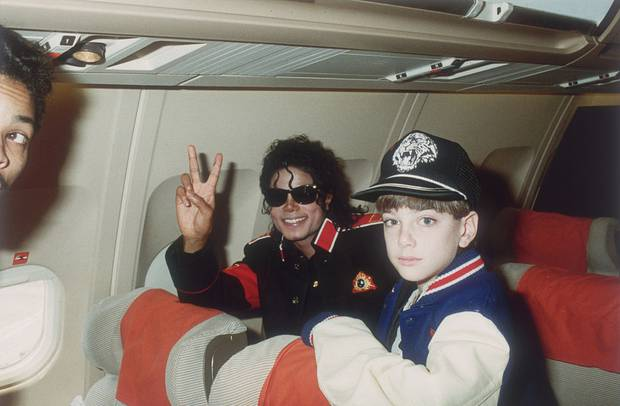 Michael Jackson with 10-year-old Jimmy Safechuck aboard the King of Pop's tour plane in 1988. Photo / Getty Images.
