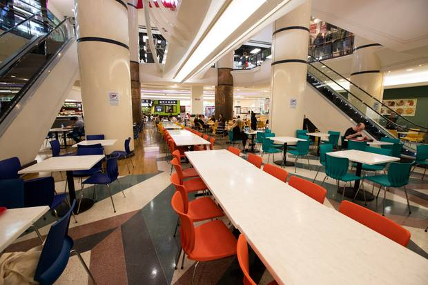 Empty tables at Atrium Foodcourt during lunch hour. Photo / Brett Phibbs