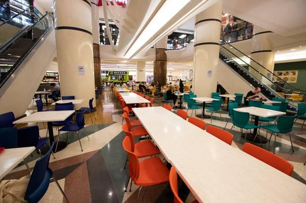Empty tables at Atrium Foodcourt during lunch hour. Photo / Brett Phibbs