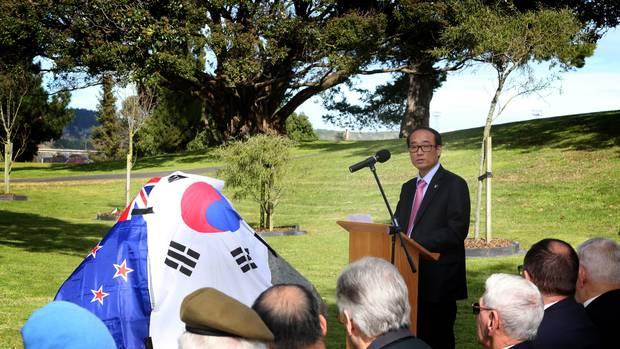 Counsellor Hongkon Kim speaks at a war memorial unveiling in Whanganui. Photo / File