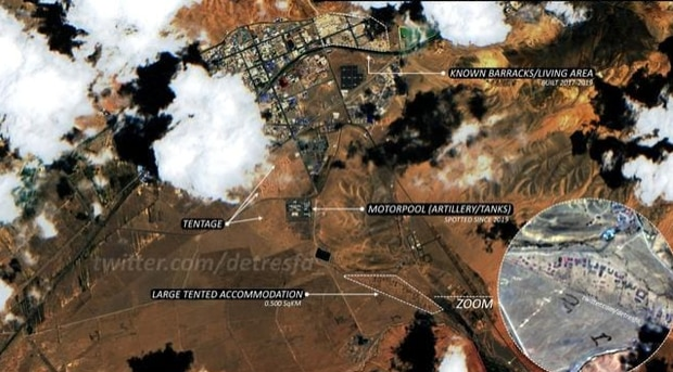 This satellite image, claiming to be from Shiquanhe in Tibet Autonomous Region, shows China massing troops and equipment on its mountainous border with India. Photo / Supplied