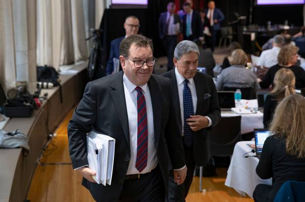 Finance Minister Grant Robertson leading his six ministers as he leaves after his Wellbeing Budget 2019 presentation in the lock-up. Photo / Mark Mitchell