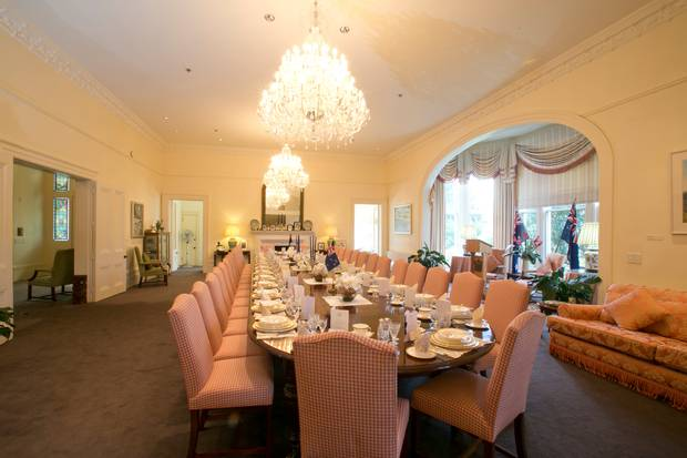 The ballroom/dining room at Premier House in Wellington. Photo / Mark Mitchell