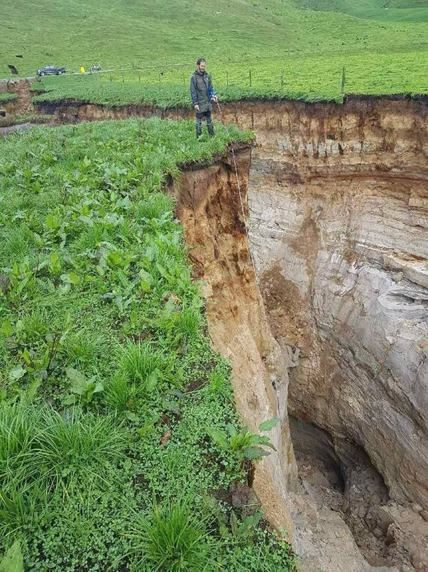 The huge tomo on Colin Tremain's Tumunia South farm is 20m deep. Photo / Supplied by Colin Tremain