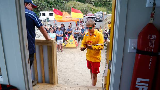 Lifeguard Matthew Newell was to the fore when the Kai Iwi surf lifeguard watchtower opened in 2017. Photo / File