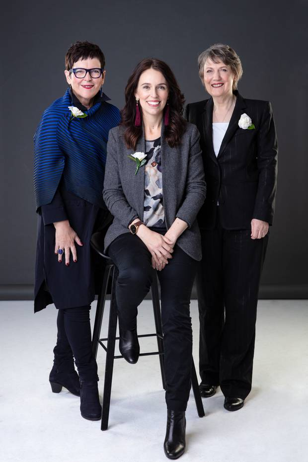 Former Prime Minister Jenny Shipley, left, current Prime Minister Jacinda Ardern, centre, and former Prime Minister Helen Clark, right. Photo / Babiche Martens