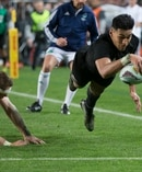 All Blacks winger Rieko Ioane scores in the corner. Photo / Brett Phibbs